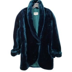 Regal Plush Real Plush Jade Green Furry Coat